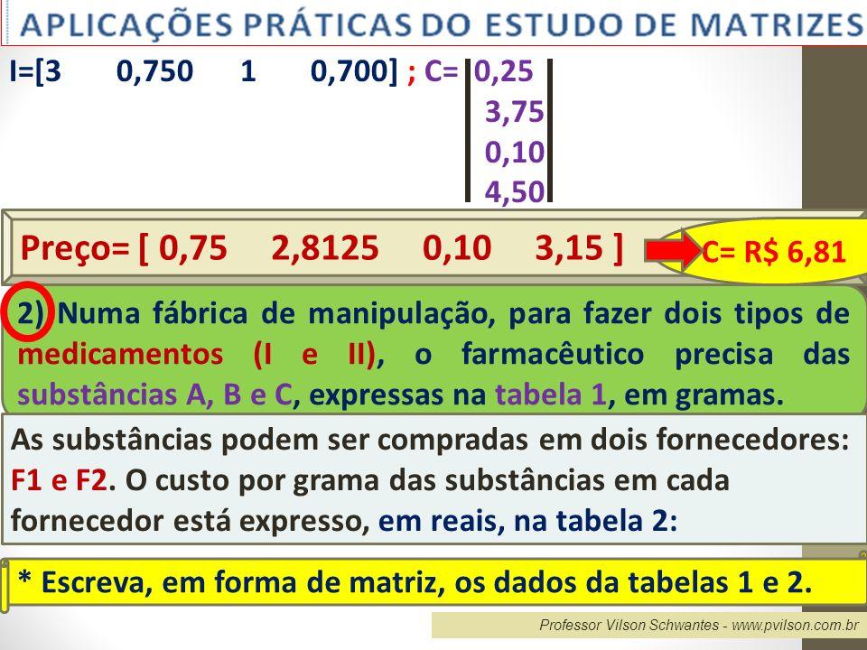 Professor Vilson Schwantes - www.pvilson.com.br I=[3 0,750 1 0,700] ; C= 0,25 3,75 0,10 4,50 Preço= [ 0,75 2,8125 0,10 3,15 ] C= R$ 6,81 2) Numa fábri