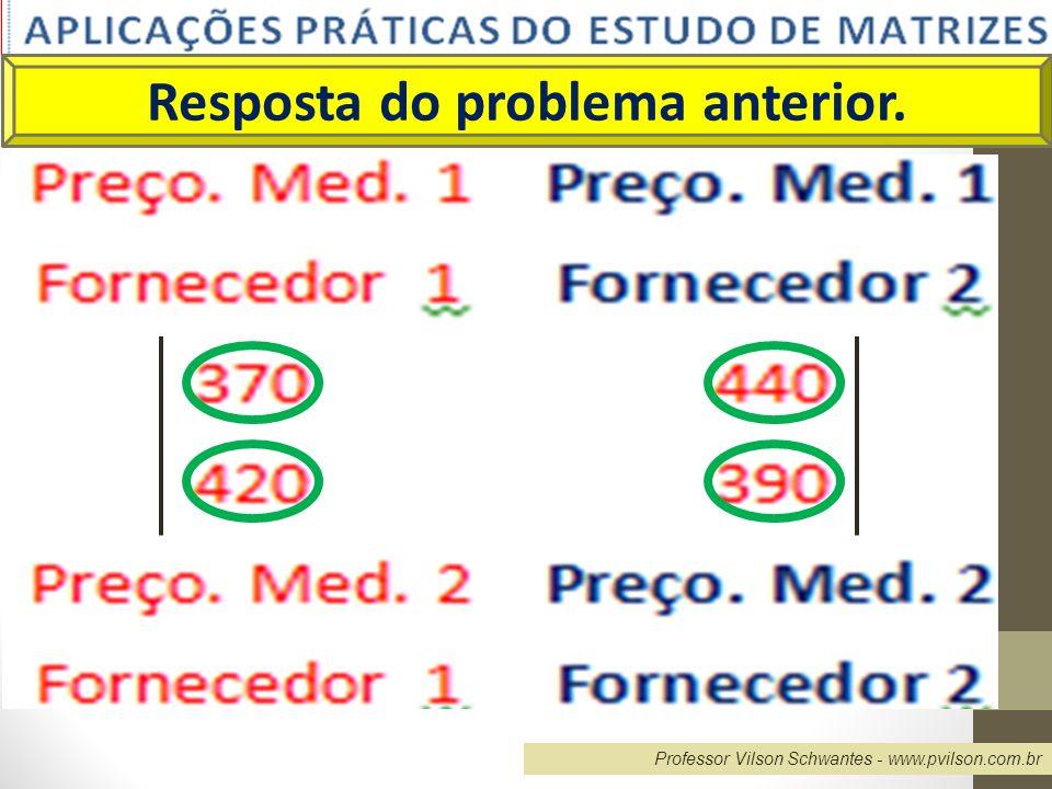 Professor Vilson Schwantes - www.pvilson.com.br Resolvendo... X= RESPOSTA 1.6001.450