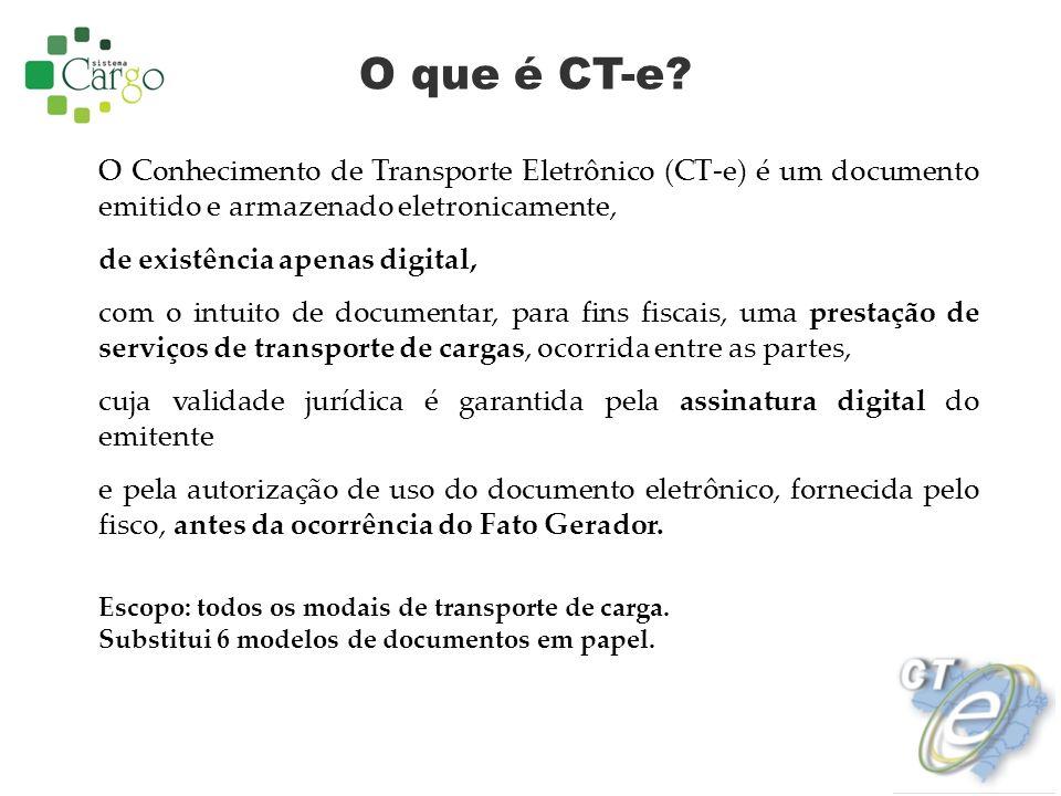 O que é CT-e? O Conhecimento de Transporte Eletrônico (CT-e) é um documento emitido e armazenado eletronicamente, de existência apenas digital, com o