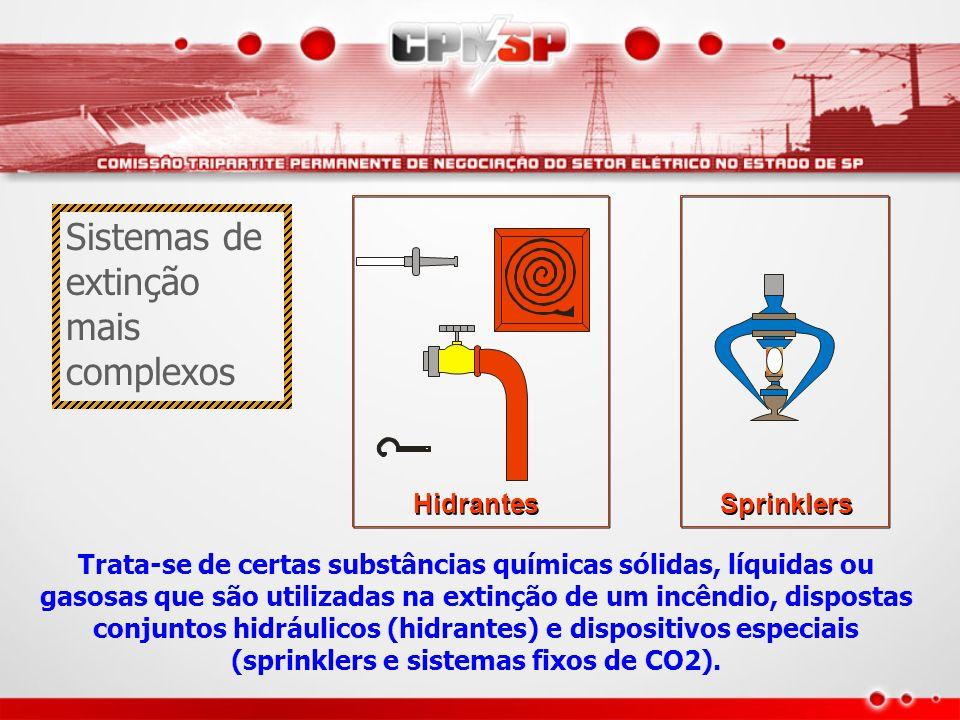 Hidrantes Sprinklers Trata-se de certas substâncias químicas sólidas, líquidas ou gasosas que são utilizadas na extinção de um incêndio, dispostas con