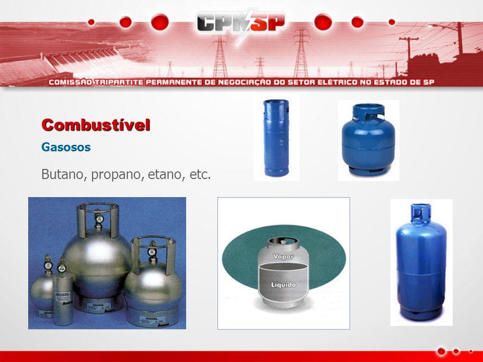 Combustível Gasosos Butano, propano, etano, etc.
