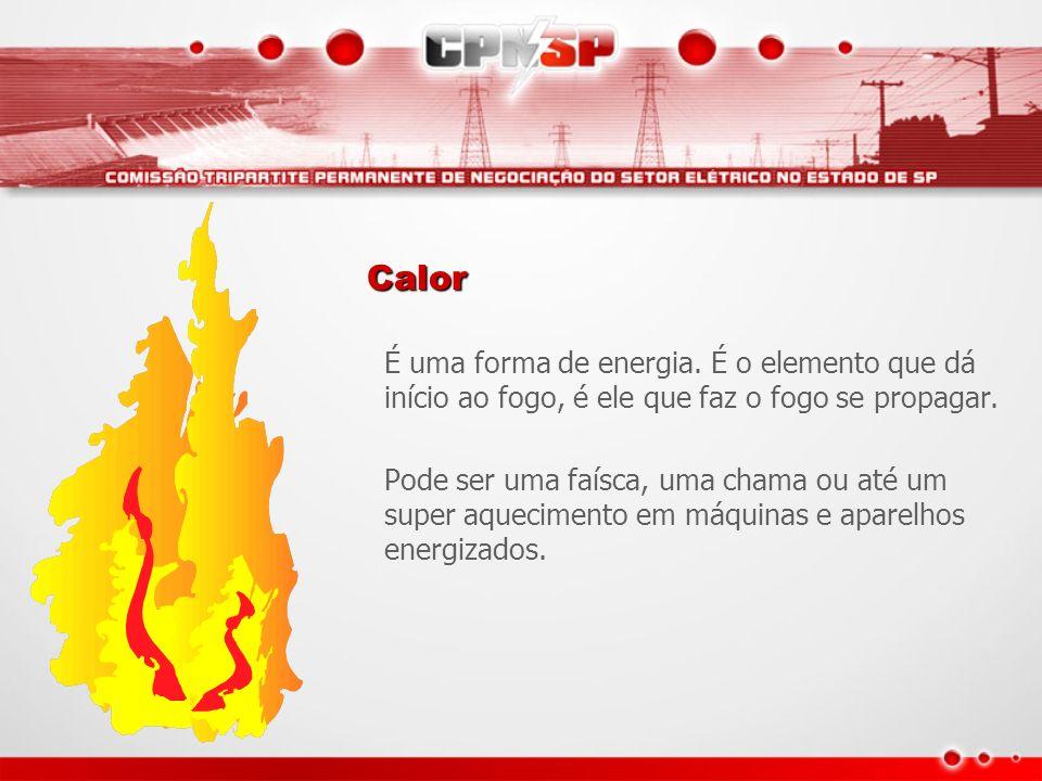 Calor É uma forma de energia. É o elemento que dá início ao fogo, é ele que faz o fogo se propagar. Pode ser uma faísca, uma chama ou até um super aqu