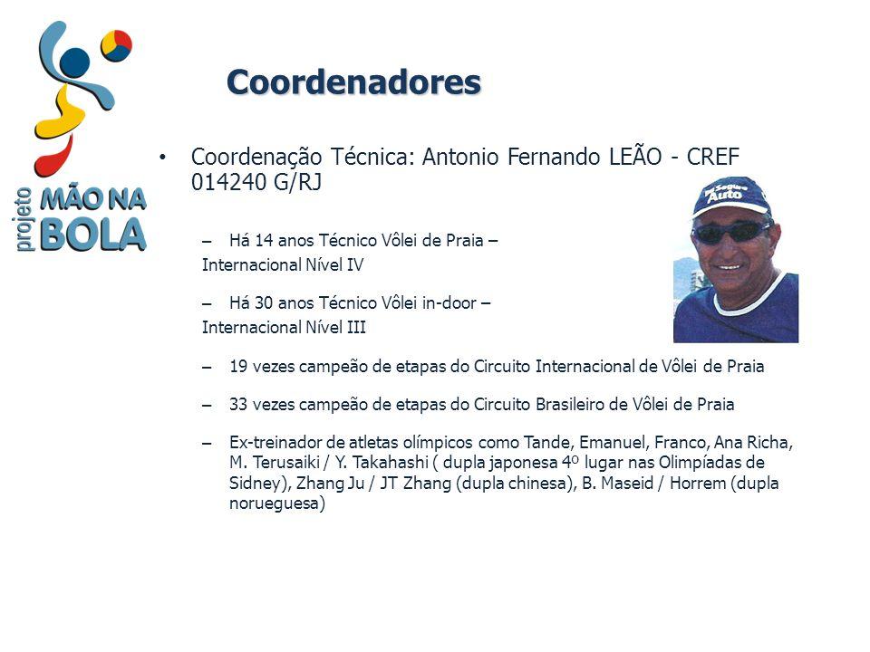 Coordenadores Coordenação Técnica: Antonio Fernando LEÃO - CREF 014240 G/RJ – Há 14 anos Técnico Vôlei de Praia – Internacional Nível IV – Há 30 anos