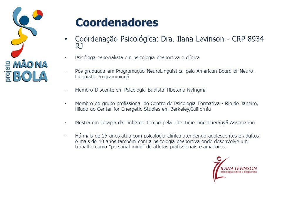 Coordenadores Coordenação Psicológica: Dra. Ilana Levinson - CRP 8934 RJ -Psicóloga especialista em psicologia desportiva e clínica -Pós-graduada em P
