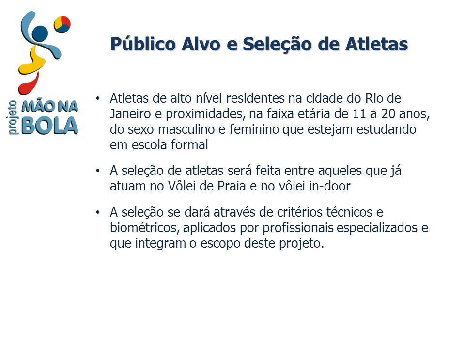 Público Alvo e Seleção de Atletas Atletas de alto nível residentes na cidade do Rio de Janeiro e proximidades, na faixa etária de 11 a 20 anos, do sex