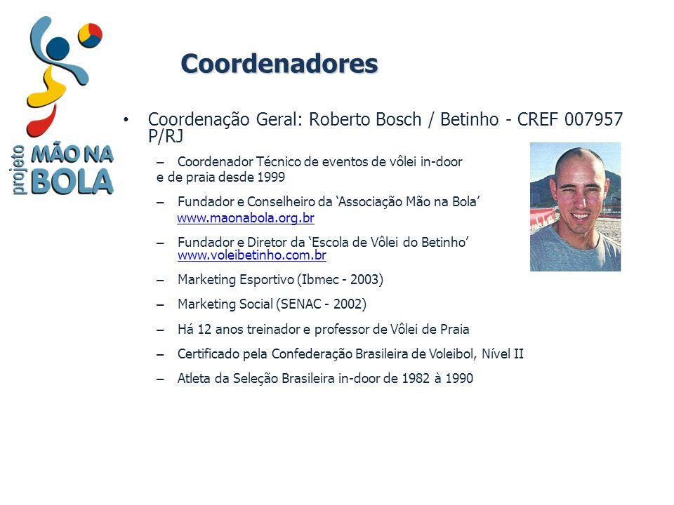 Coordenadores Coordenação Geral: Roberto Bosch / Betinho - CREF 007957 P/RJ – Coordenador Técnico de eventos de vôlei in-door e de praia desde 1999 –