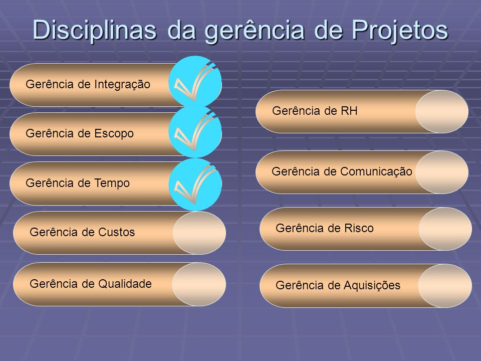 Disciplinas da gerência de Projetos Gerência de IntegraçãoGerência de EscopoGerência de TempoGerência de RHGerência de ComunicaçãoGerência de Qualidad