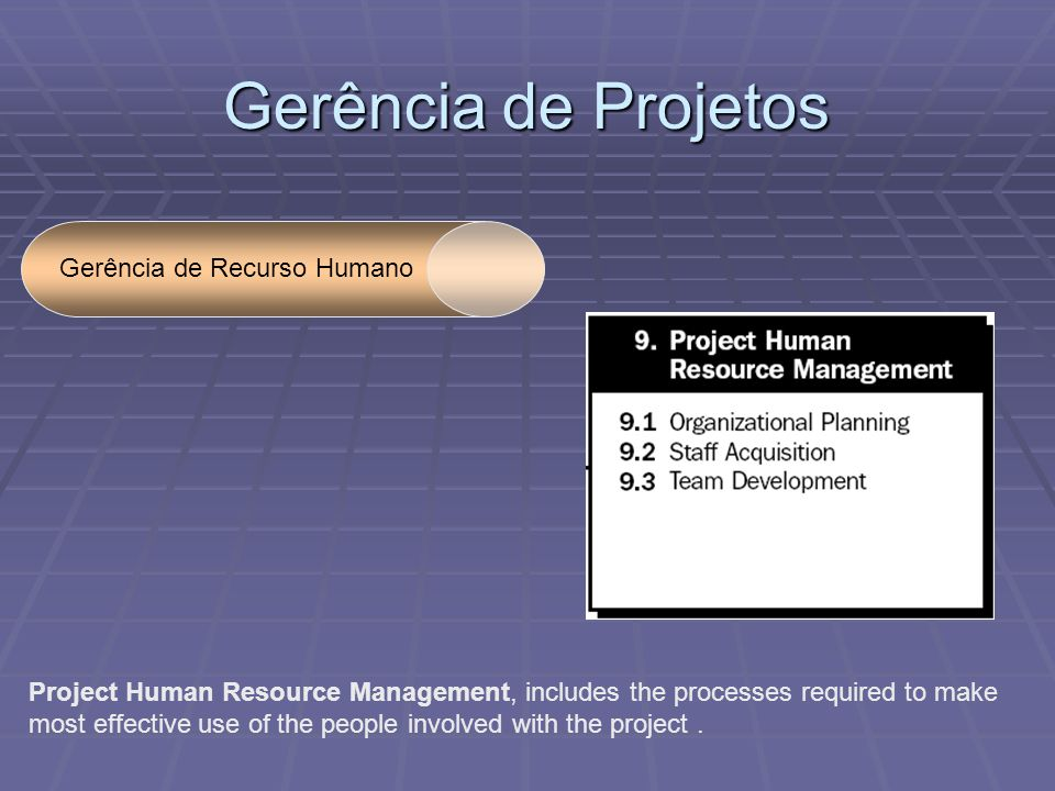 Gerência de Projetos Gerência de Recurso Humano Project Human Resource Management, includes the processes required to make most effective use of the people involved with the project.