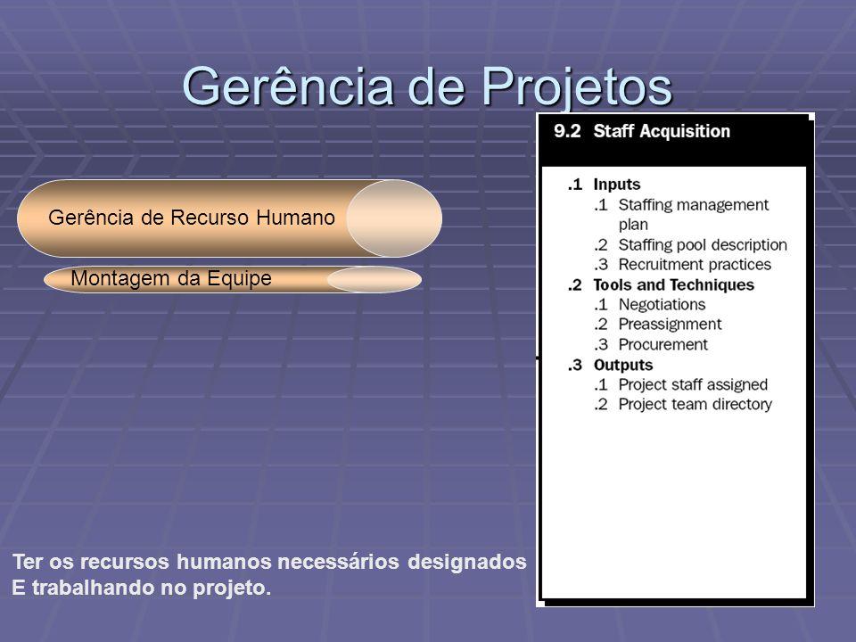 Gerência de Projetos Gerência de Recurso Humano Ter os recursos humanos necessários designados E trabalhando no projeto. Montagem da Equipe