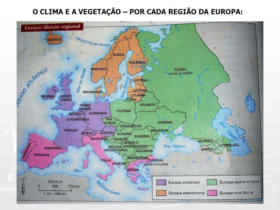 EUROPA CENTRO – ORIENTAL: Associado ao clima Temperado Continental, ocorrem formações de Florestas Temperadas e Floresta Boreal (Taiga), e sobre tudo as Estepes.