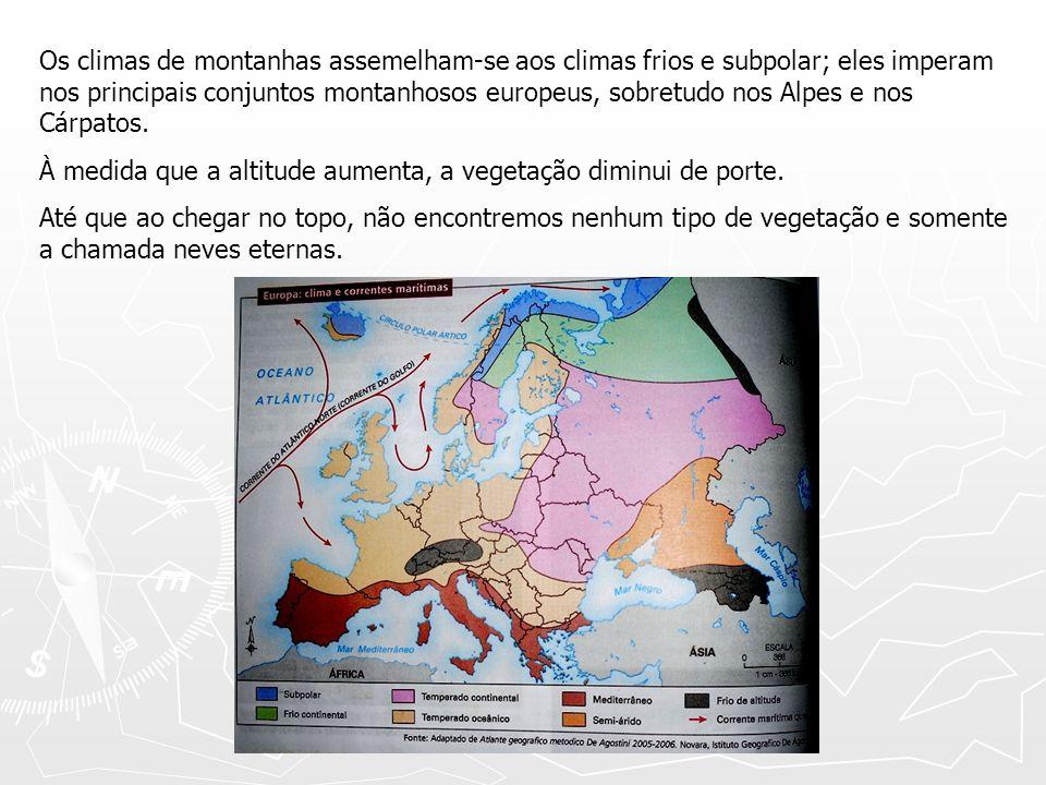 Os climas de montanhas assemelham-se aos climas frios e subpolar; eles imperam nos principais conjuntos montanhosos europeus, sobretudo nos Alpes e no