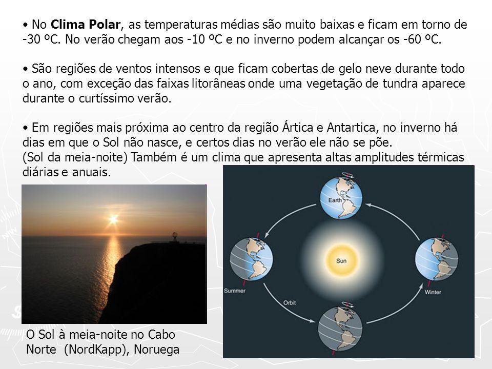 No Clima Polar, as temperaturas médias são muito baixas e ficam em torno de -30 ºC. No verão chegam aos -10 ºC e no inverno podem alcançar os -60 ºC.