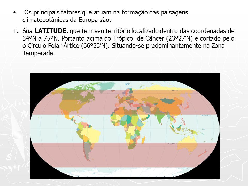 Os principais fatores que atuam na formação das paisagens climatobotânicas da Europa são: 1.Sua LATITUDE, que tem seu território localizado dentro das