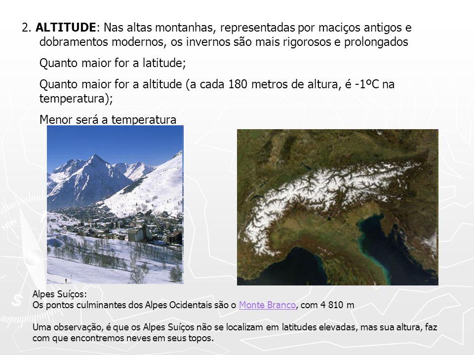 2. ALTITUDE: Nas altas montanhas, representadas por maciços antigos e dobramentos modernos, os invernos são mais rigorosos e prolongados Quanto maior