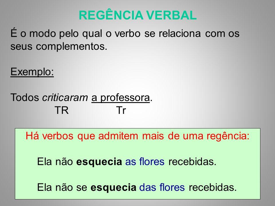 REGÊNCIA VERBAL É o modo pelo qual o verbo se relaciona com os seus complementos.