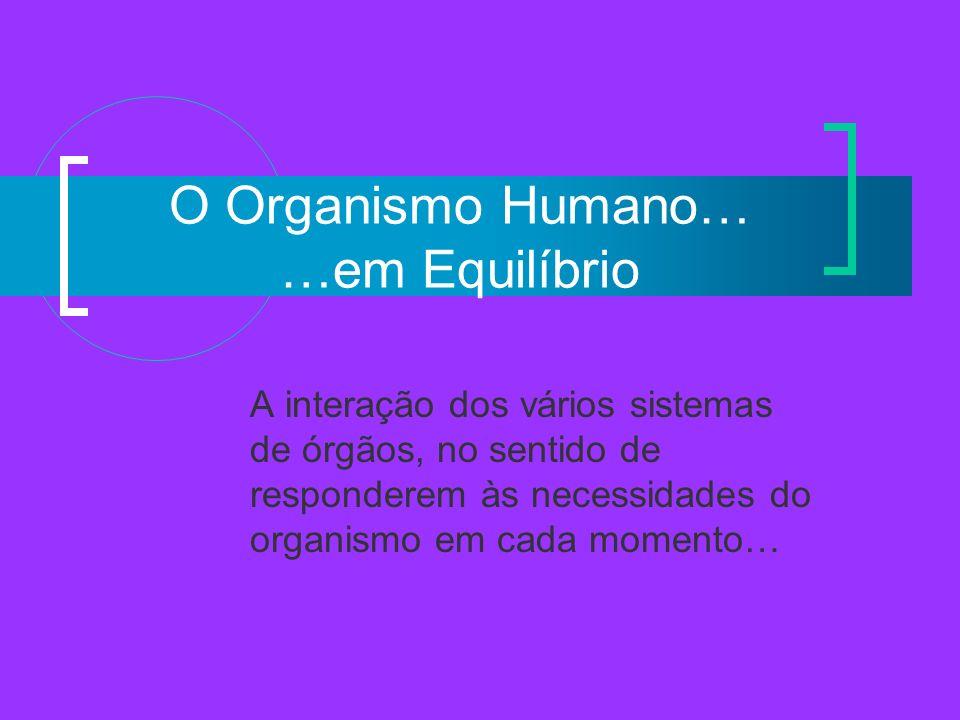 O Organismo Humano… …em Equilíbrio A interação dos vários sistemas de órgãos, no sentido de responderem às necessidades do organismo em cada momento…