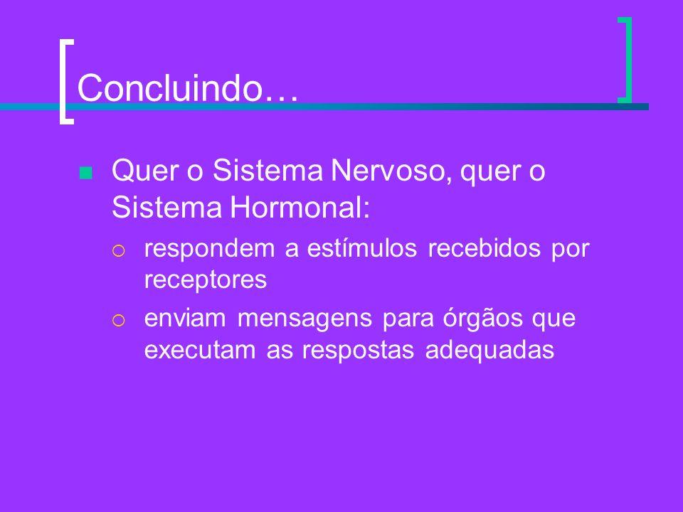 Concluindo… Quer o Sistema Nervoso, quer o Sistema Hormonal: respondem a estímulos recebidos por receptores enviam mensagens para órgãos que executam