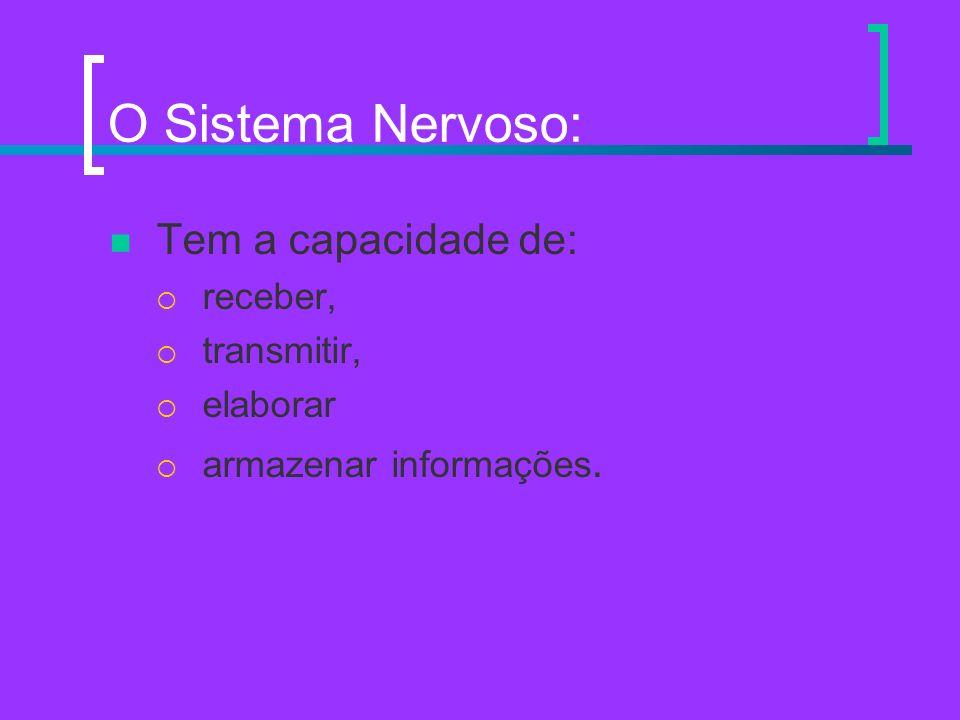 O Sistema Nervoso: Tem a capacidade de: receber, transmitir, elaborar armazenar informações.