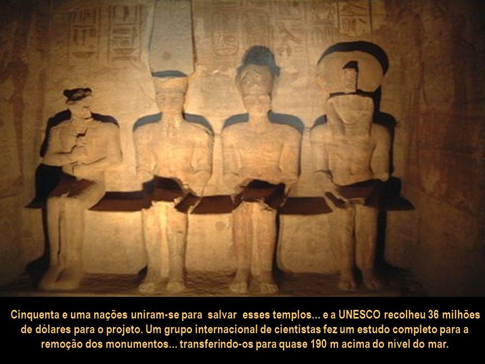 Os templos de Abu Simbel foram um desafio para os arquitetos do faraó... e também para uma comissão da UNESCO (1960)... para salvá-los do desaparecime