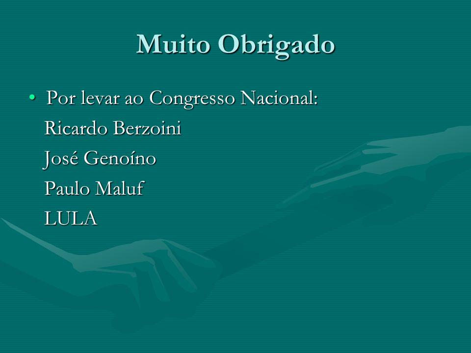 Muito Obrigado Por levar ao Congresso Nacional:Por levar ao Congresso Nacional: Ricardo Berzoini Ricardo Berzoini José Genoíno José Genoíno Paulo Malu
