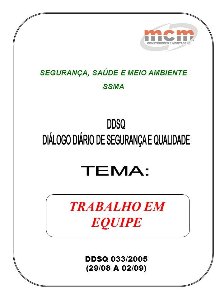DDSQ 033/2005 (29/08 A 02/09) SEGURANÇA, SAÚDE E MEIO AMBIENTE SSMA TRABALHO EM EQUIPE
