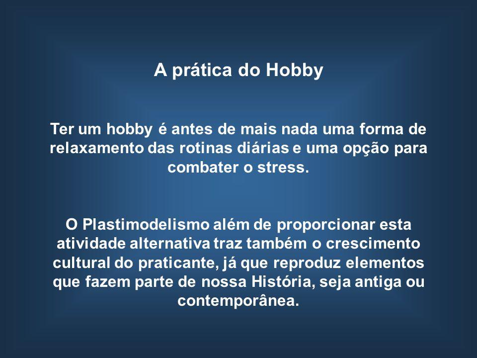 A prática do Hobby Ter um hobby é antes de mais nada uma forma de relaxamento das rotinas diárias e uma opção para combater o stress. O Plastimodelism