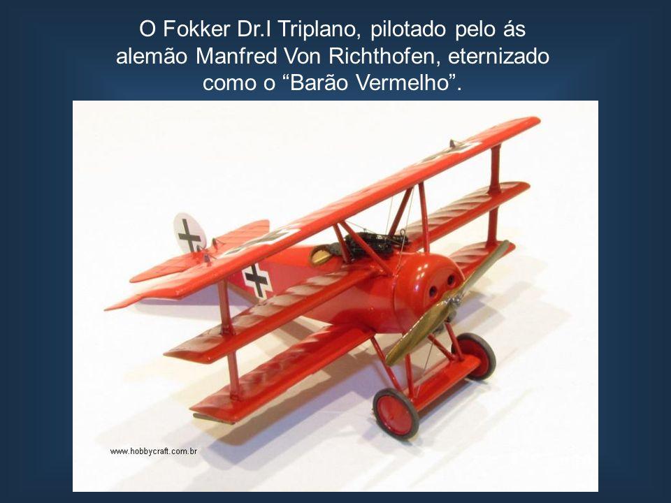 O Fokker Dr.I Triplano, pilotado pelo ás alemão Manfred Von Richthofen, eternizado como o Barão Vermelho.