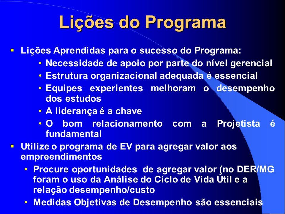 Lições do Programa Lições Aprendidas para o sucesso do Programa: Necessidade de apoio por parte do nível gerencial Estrutura organizacional adequada é