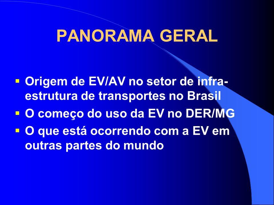 PANORAMA GERAL Origem de EV/AV no setor de infra- estrutura de transportes no Brasil O começo do uso da EV no DER/MG O que está ocorrendo com a EV em