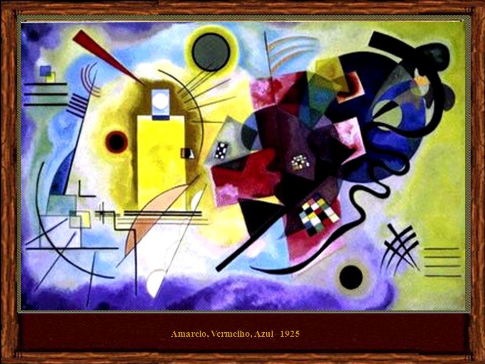 Na sua obra Oscilação, de 1925, Kandinsky pinta formas e linhas coloridas sobre a tela formando uma composição vibrante.