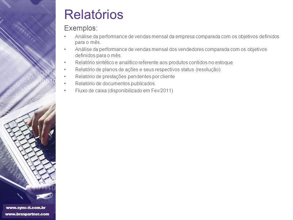 Relatórios Exemplos: Análise da performance de vendas mensal da empresa comparada com os objetivos definidos para o mês. Análise da performance de ven