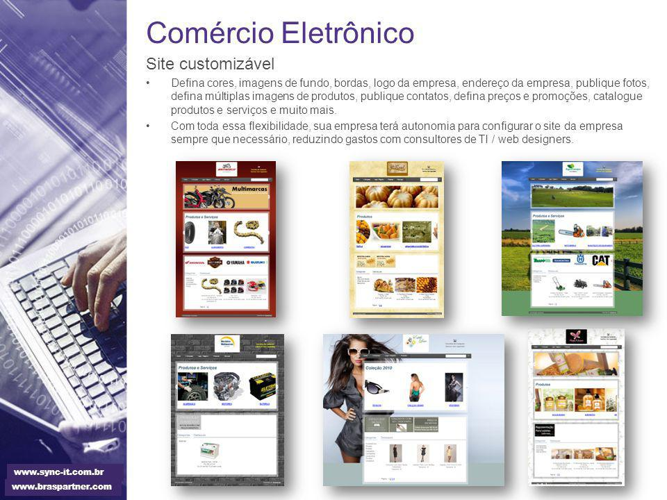 Comércio Eletrônico Site customizável Defina cores, imagens de fundo, bordas, logo da empresa, endereço da empresa, publique fotos, defina múltiplas i