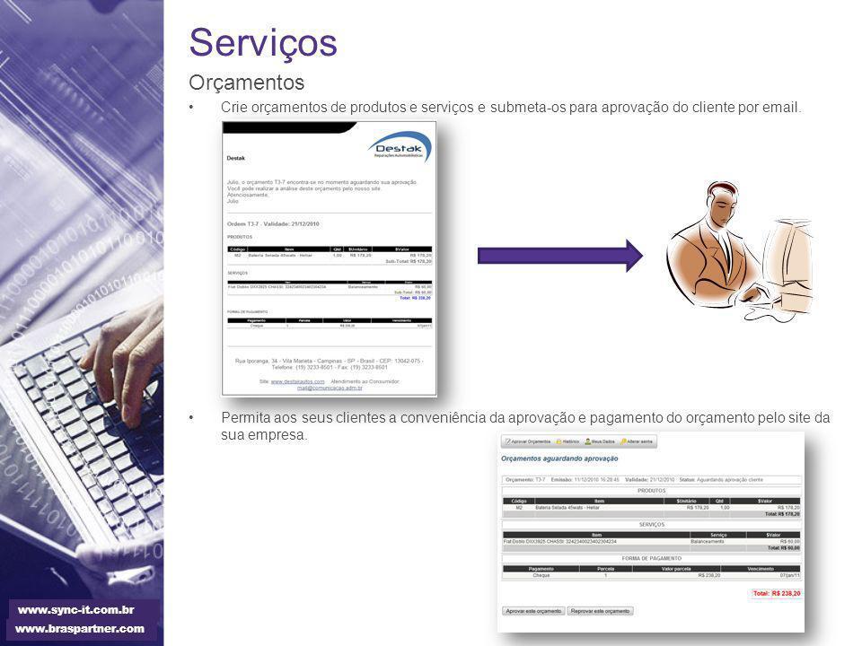 Serviços Orçamentos Crie orçamentos de produtos e serviços e submeta-os para aprovação do cliente por email. Permita aos seus clientes a conveniência