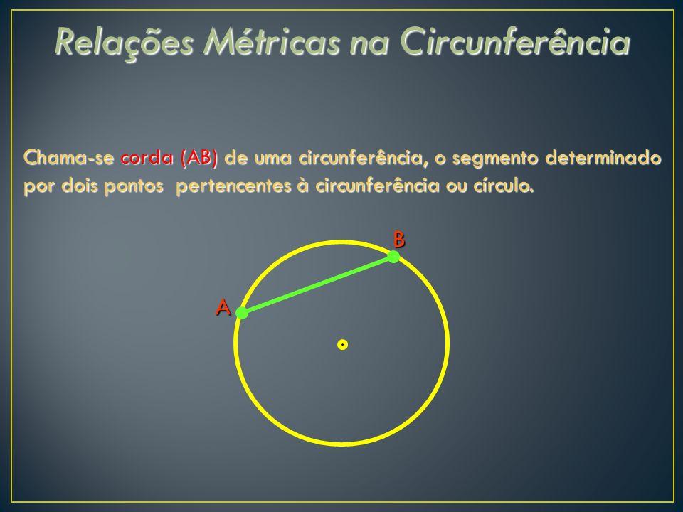 Relações Métricas na Circunferência Chama-se corda (AB) de uma circunferência, o segmento determinado por dois pontos pertencentes à circunferência ou círculo.