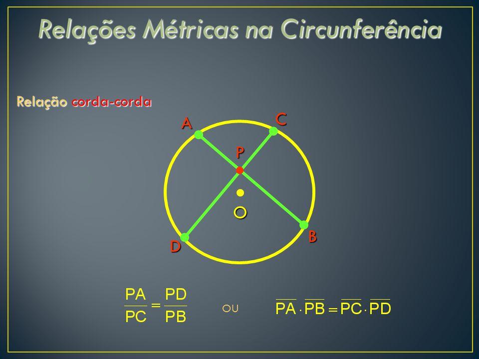 Relações Métricas na Circunferência Relação corda-corda C A B D O OU P