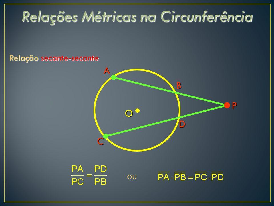 Relações Métricas na Circunferência Relação secante-secante D A B C O OU P