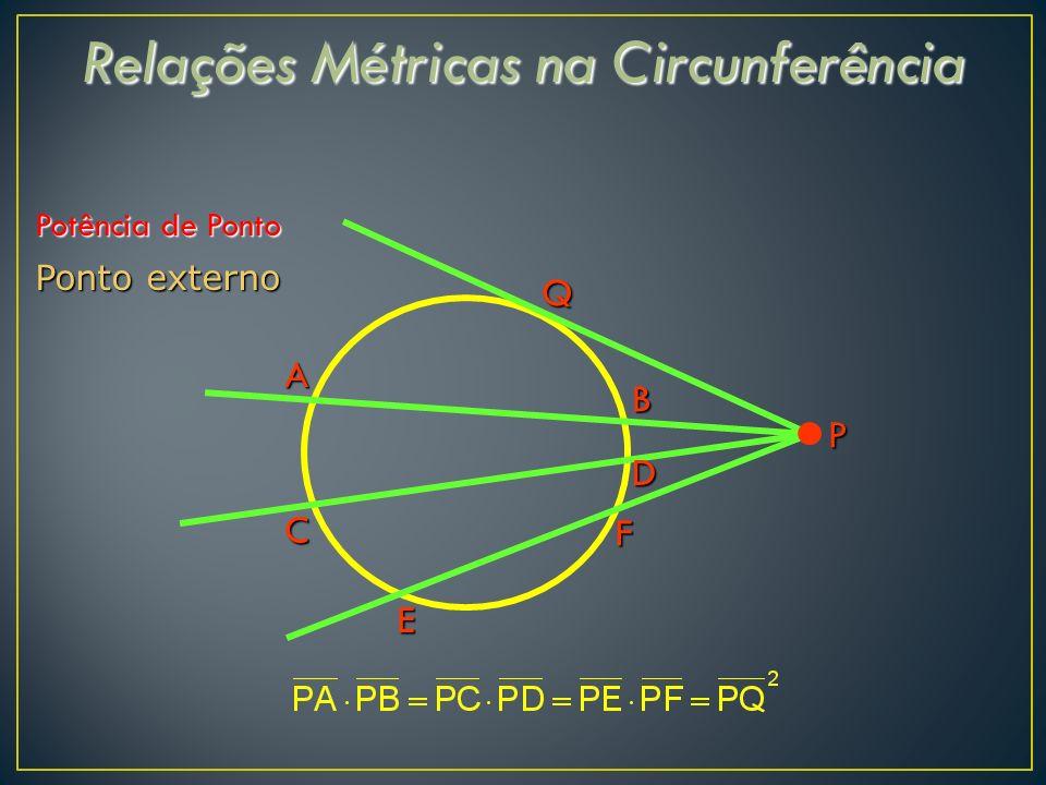 Relações Métricas na Circunferência Potência de Ponto Ponto externo Q B C P A D F E