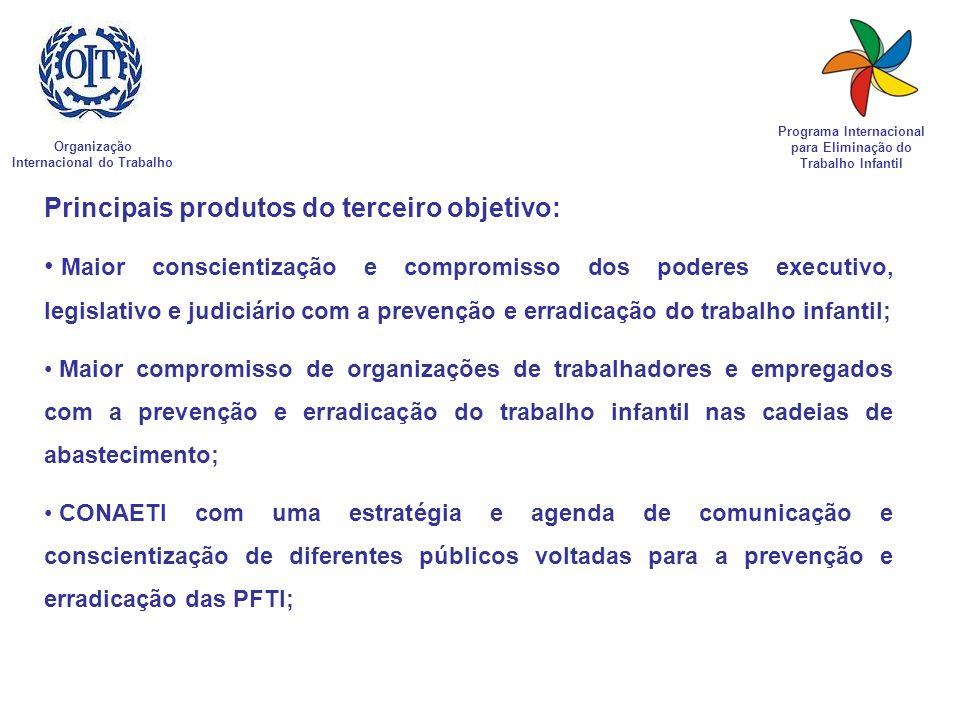 Organização Internacional do Trabalho Programa Internacional para Eliminação do Trabalho Infantil Principais produtos do terceiro objetivo: Maior cons