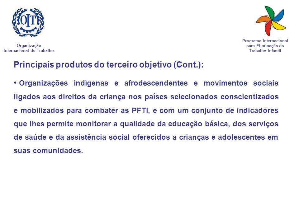 Organização Internacional do Trabalho Programa Internacional para Eliminação do Trabalho Infantil Principais produtos do terceiro objetivo (Cont.): Or