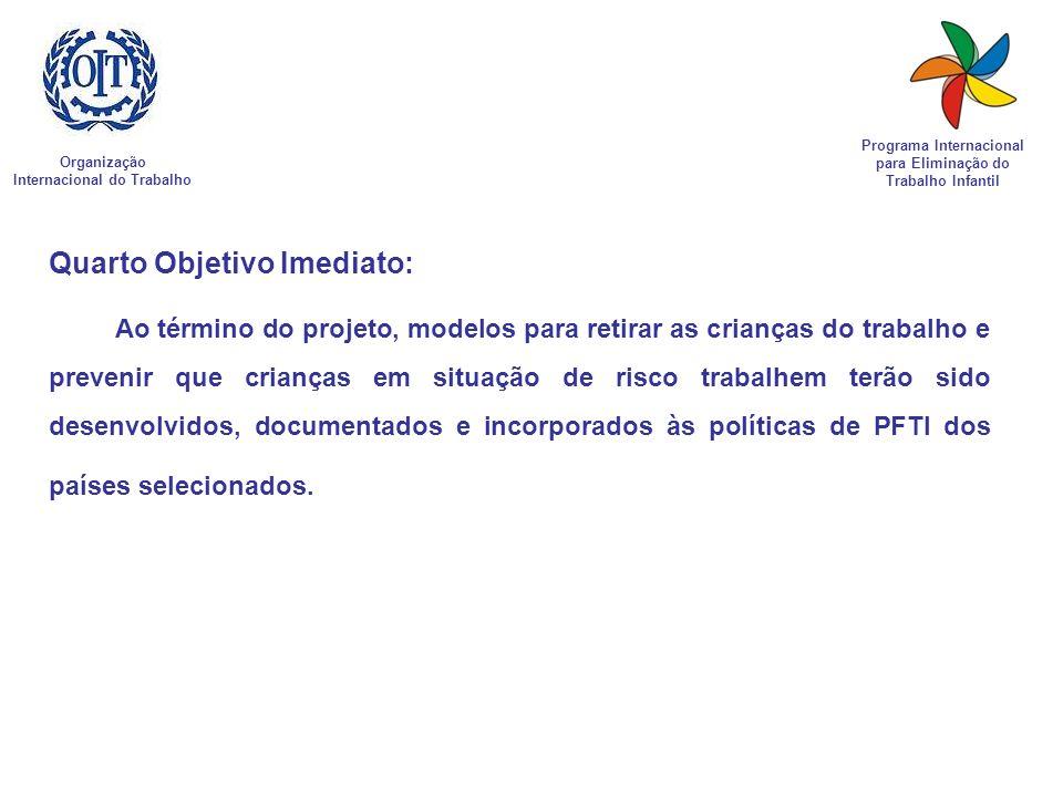 Organização Internacional do Trabalho Programa Internacional para Eliminação do Trabalho Infantil Quarto Objetivo Imediato: Ao término do projeto, mod