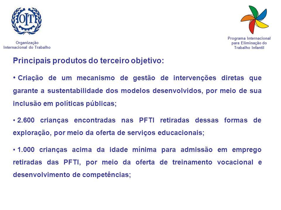 Organização Internacional do Trabalho Programa Internacional para Eliminação do Trabalho Infantil Principais produtos do terceiro objetivo: Criação de