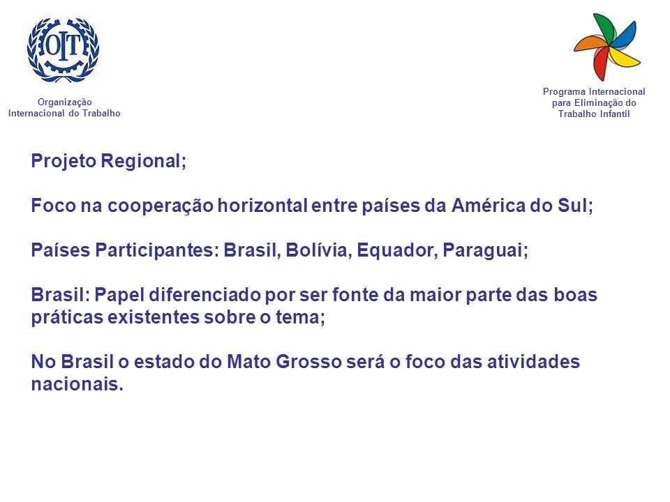 Projeto Regional; Foco na cooperação horizontal entre países da América do Sul; Países Participantes: Brasil, Bolívia, Equador, Paraguai; Brasil: Pape