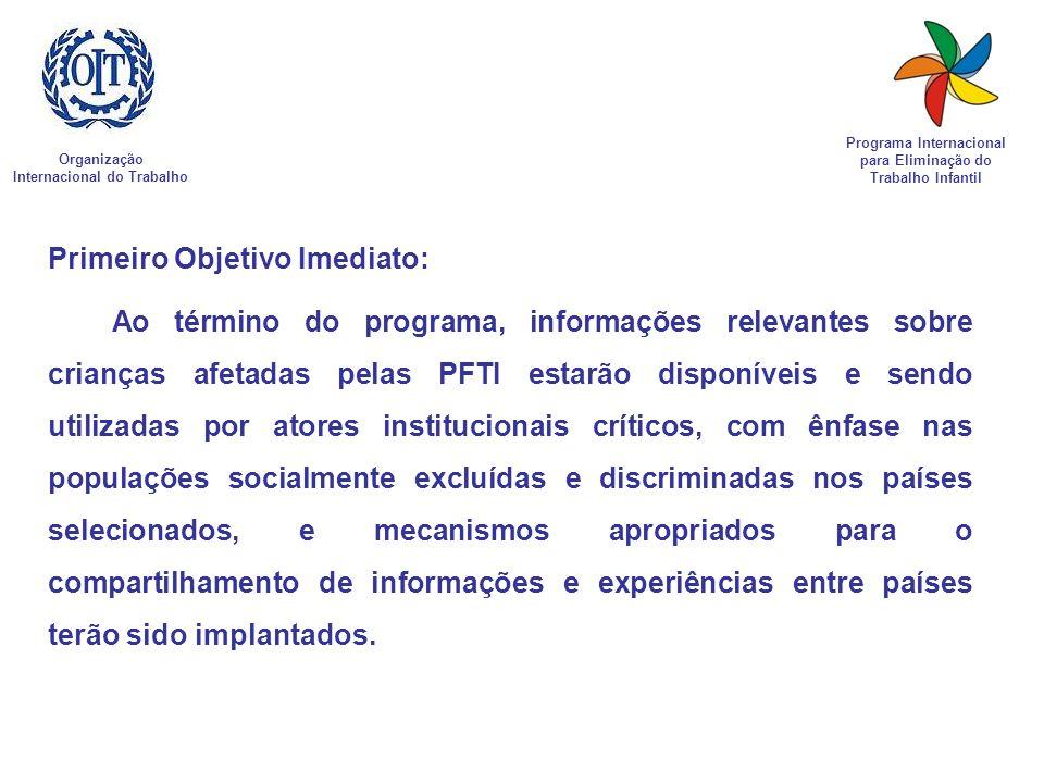 Organização Internacional do Trabalho Programa Internacional para Eliminação do Trabalho Infantil Primeiro Objetivo Imediato: Ao término do programa,