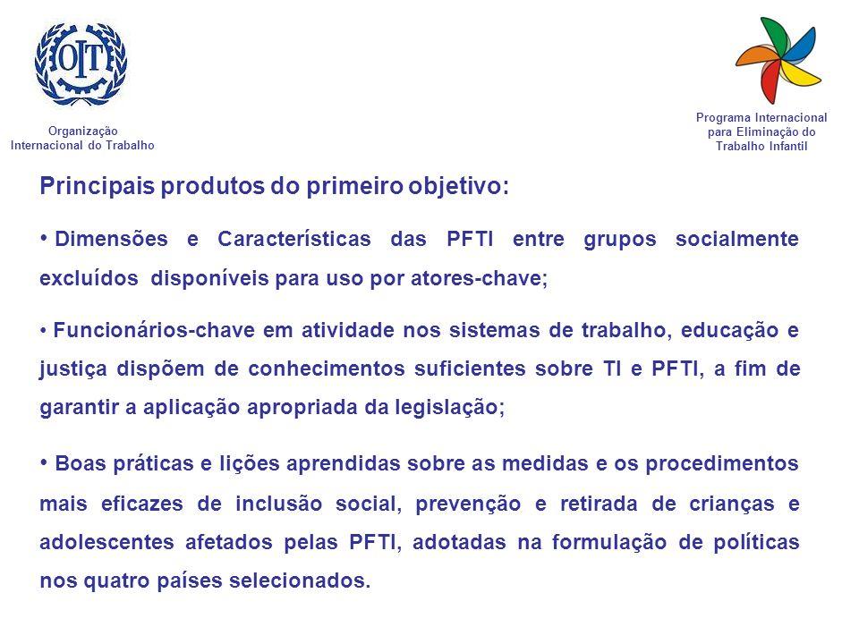 Organização Internacional do Trabalho Programa Internacional para Eliminação do Trabalho Infantil Principais produtos do primeiro objetivo: Dimensões