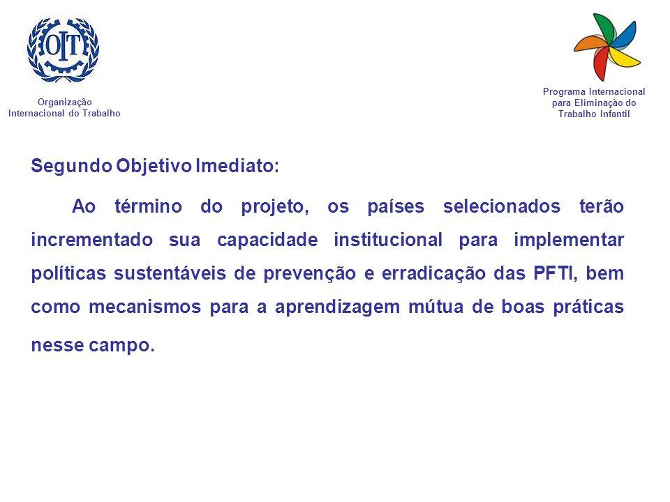 Organização Internacional do Trabalho Programa Internacional para Eliminação do Trabalho Infantil Segundo Objetivo Imediato: Ao término do projeto, os
