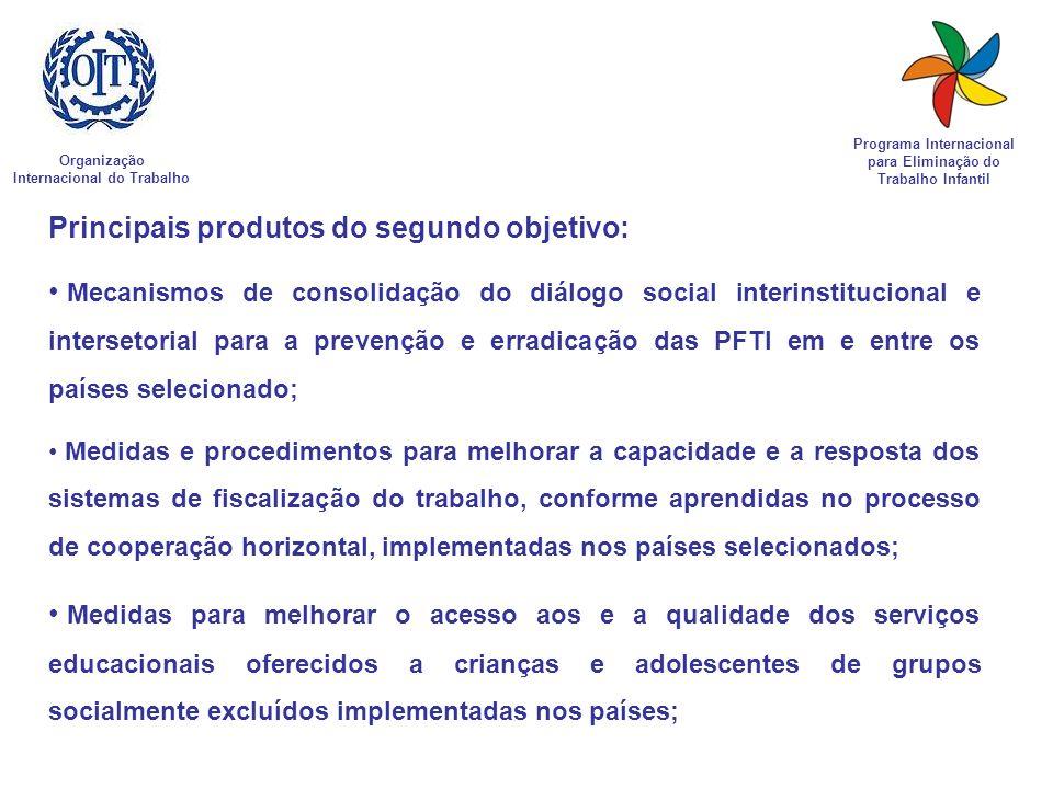 Organização Internacional do Trabalho Programa Internacional para Eliminação do Trabalho Infantil Principais produtos do segundo objetivo: Mecanismos