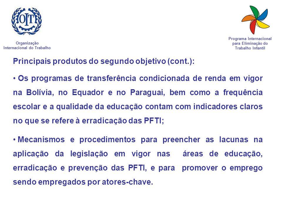 Organização Internacional do Trabalho Programa Internacional para Eliminação do Trabalho Infantil Principais produtos do segundo objetivo (cont.): Os