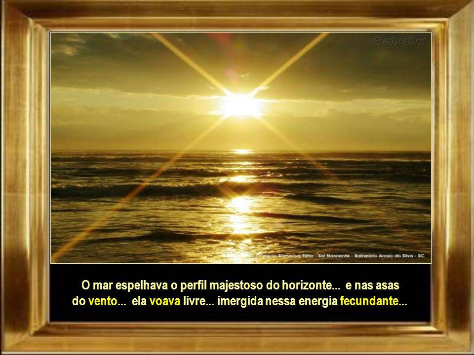 O mar espelhava o perfil majestoso do horizonte...