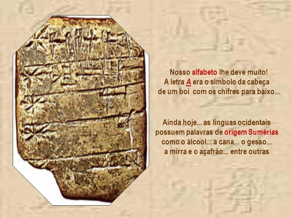 Foram os Sumérios que dividiram o círculo em 360 graus... e a hora em minutos e segundos. Os primeiros sinais rabiscados eram pictográficos podendo se