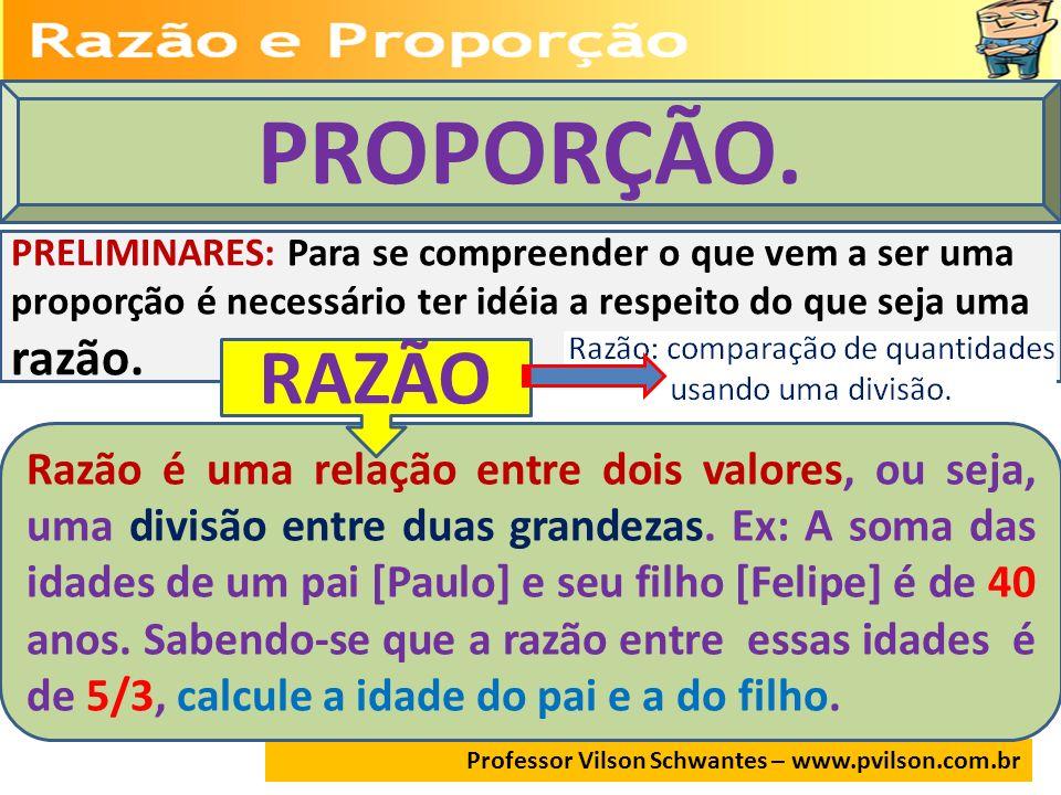 Professor Vilson Schwantes – www.pvilson.com.br PF 53 106 159 2012 2515 25+15= 40 PaiFilho Aplicando propriedades proporções.